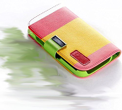 myLife Captivating Yellow/Red/Green {Professional Design} Faux Leather (Card, Cash and ID Holder + Magnetic Closing) Slim Wallet for Galaxy Note 3 Smartphone by Samsung (External Textured Synthetic Leather with Magnetic Clip + Internal Secure Snap In Closure Hard Rubberized Bumper Holder)