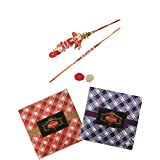 Skylofts Chocolate Check Boxes (set Of 2) With Rakhi, Lumba & Teeka Combo