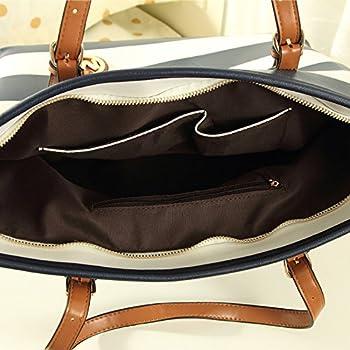 VonFon Bag Work Place Striped Shoulder Bag Blue 2