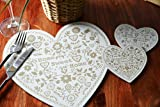 Set of 4 TAUPE OPULENCE Heart Shaped PLACEMATS & 4 COASTERS (8 Piece Set)
