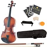 Mendini 1/2 MV300 Solid Wood Satin Antique Violin with Hard Case, Shoulder Rest, Bow, Rosin and Extra Strings