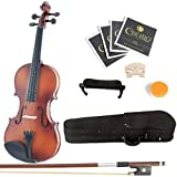 Mendini 4/4 MV300 Solid Wood Violin in Satin Finish with Hard Case, Shoulder Rest, Bow, Rosin and Extra Strings - Full Size