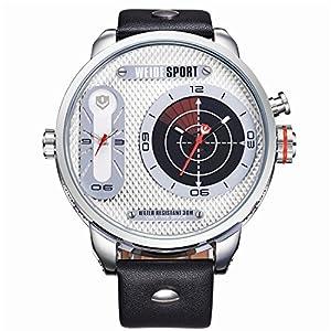 WEIDE Japan Quartz Watch Men Luxury Brand Leather Strap Stainless Steel Buckle Wristwatch