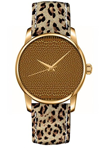 Ouo Special Design Of Classic Animal Skin Genuine Leather Leopard Print Watch Strap Ladies' Women'S Analog Quartz Watch