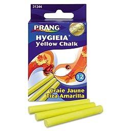 Prang Hygieia Dustless Board Chalk, 3 1/4 x 3/8, Yellow, 12/Box