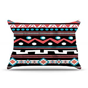"Nika Martinez ""Black Tipi"" Red Tribal Pillowcase, 36 by 20-Inch"