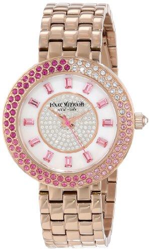 Isaac Mizrahi Women's IMN65R Rose Gold Paved Case Steel Polished Brushed Link Bracelet Watch