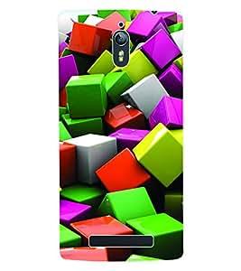 Fuson 3D Printed Cube Pattern Designer Back Case Cover for Oppo Find 7 - D604