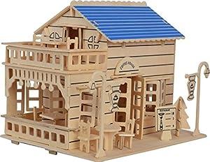XT-XINTE 3D Puzzle en bois Coffee House construction jouets éducatifs assemblés à la main bricolage pour enfants