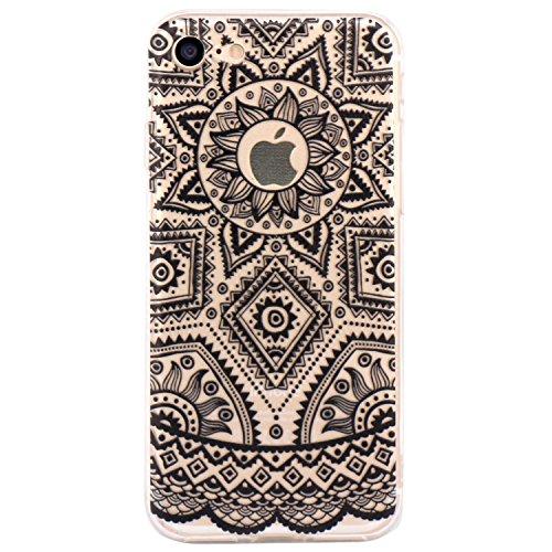 Cover iPhone 7, JIAXIUFEN TPU Gel Protettivo Skin Custodia Protettiva Shell Case Cover Per iPhone 7 (2016) - Black Tribal Henna