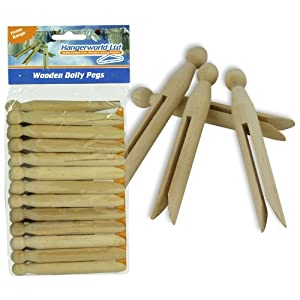 Hangerworld Pack of 96 Traditional Wooden Dolly Clothes Garment Pegs for Washing Lines & Craft