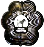 Stainless Steel Jack Russell Dog 12 Inch Wind Spinner, Black