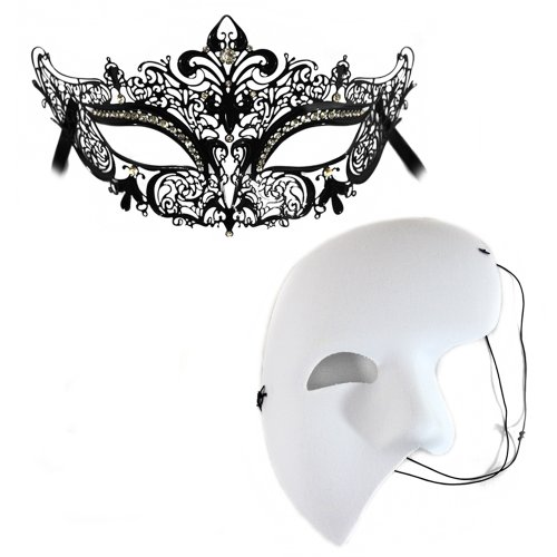 Simone-White Mystery - Masquerade Masks for a Couple