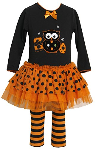 Bonnie Jean Girls Orange Black Boo Owl Halloween Tutu Legging Set (6-9 Months) front-862295