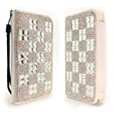Synthetic Leather Clear Squares Rhinestone Diamond Bling Flip Cover Pouch W/ Card ID Holder For Samsung Galaxy S4 IV i9500 (StopAndAccessorize)