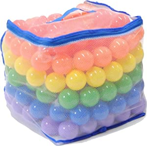 200 Phthalate Free Pit Balls W Mesh Toting 6 Colors - Red Orange Yellow Green Blue And Purple by eWonderWorld