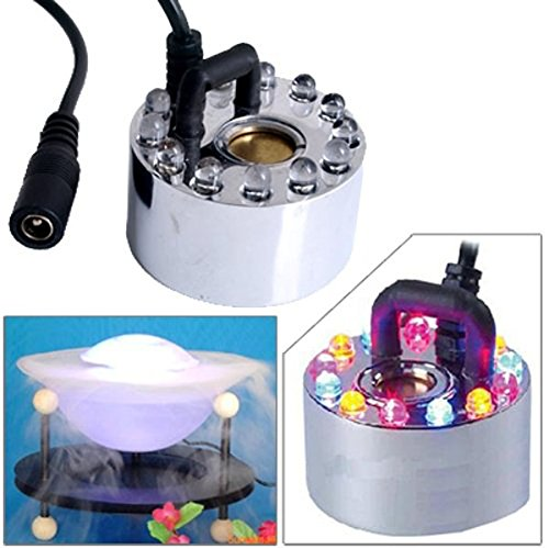 Foxnovo 12 Colorful LEDs Ultrasonic Mist Maker Fogger Water Fountain Pond Atomizer Air Humidifier