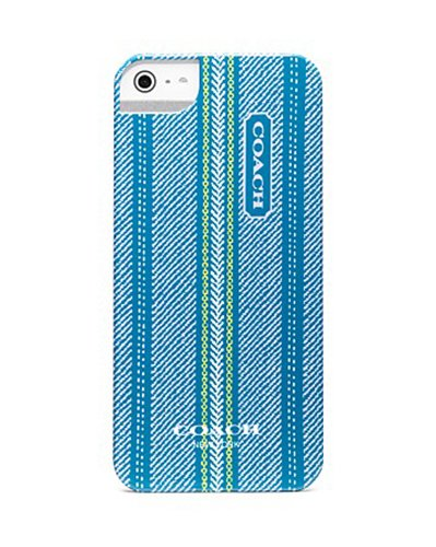 Special Sale Coach Ticking Stripe Iphone 5 Hard Case Cover 64702B Teal Lime