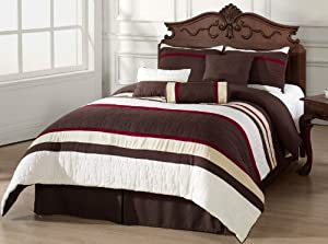Mosaico 7-Piece Quilted Comforter Set, Burgundy, Borwn, Ivory, White Bed-in-a-Bag for FULL Size Bedding