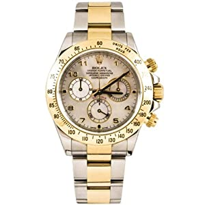 Rolex 40mm Stainless Steel & 18K Gold Daytona Model 116523 White Mother Of Pearl Arabic Dial Inner Bezel Engraving Model