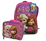 "Disney Frozen Princess Elsa & Anna 16"" Backpack with Detachable Lunch Box Kit"