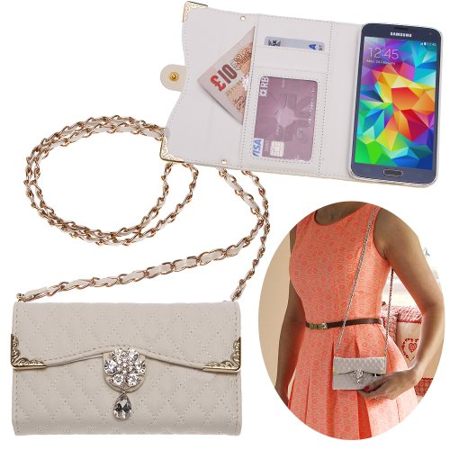 Xtra-Funky Exclusive Luxury Faux Leather Quilted Handbag Purse Style Case With Carry Strap And Beautifully Decorated Crystal Flower For Samsung Galaxy S5 (I9600) - White (Includes A Mini Stylus And Lcd Screen Protector Film)