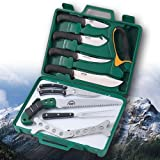 Deluxe Hunting Set: Outdoor Edge Game Processor 12 Piece butchering set (PR-1) and Mossy Oak Deluxe Big Game Bags (4 Pack)