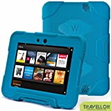 "Kindle Fire Hd 7"" Cover Case New Hot Item High Quality Slim Fit Silicone Plastic Dual Protective Back Cover Standing Case Kid Proof Case for Amazon Kindle Fire Hd 7 Inch(will Only Fit Kindle Fire Hd 7""previous Generation )-Multiple Color Options (Light Blue)"