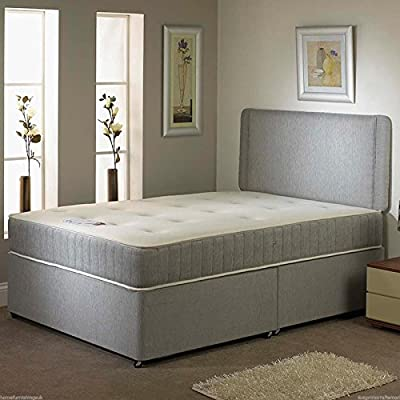 Hf4you Grey Fabric Divan Bed Set - 2 Drawers Same Side - No Headboard