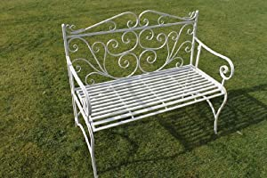 Versailles Folding Metal Garden Bench In Antique White
