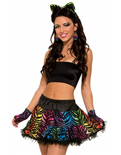 Womens Sexy Rainbow Tiger Print Party Animal Tutu Skirt