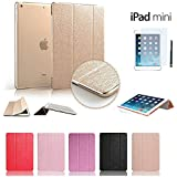 Contever® Gold Elegant Silk Pattern Trifold Case Protective Cover / Stand for Apple ipad mini 1/ipad mini 2 + 1x Free Screen Protector + 1x Free Touch Pen--Gold