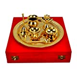 Odna Bichona Traditional Gold Plated Brass Pooja Thali (26.67X6.985X26.67, Golden)