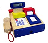 Cash Register Wood with Integrated Calculator with Sound Receipt Roll Scanner Coins + Credit Card Colour: Blue Red 3+