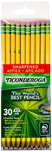 Dixon Ticonderoga Pre-Sharpened With Erasers Pencils, #2, Yellow, Box Of 30 (13830)