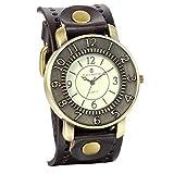 JewelryWe アンティーク風 腕時計 レザーブレスレットタイプ ウォッチ アクセサリー ブラウン