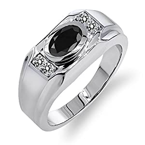 1.79 Ct Oval Black Sapphire White Diamond 925 Sterling Silver Men's Ring