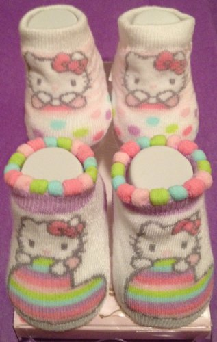 Hello Kitty Baby Booties Socks Hearts & Polka Dots Multi-Colored Pastel, 2 Pair 0-12 Months.