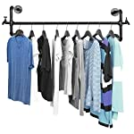 Black Metal Wall Mounted Faucet Design Closet Rod Garment Rack / Hanging Clothes Bar Display - MyGift®