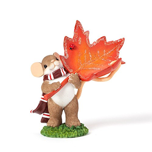 Enesco Charming Tails Gift Ornament Ding Maple Leaf Figurine, 3.75-Inch
