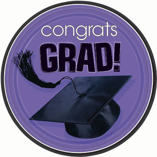 Congrats Grad Purple Graduation Dinner Plates