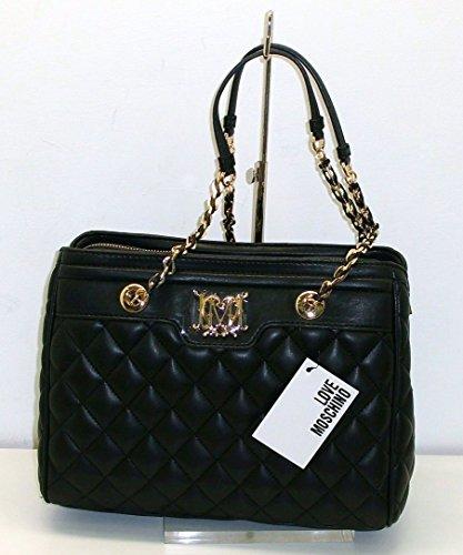 Borsa Love Moschino JC4235 TRAPUNTATA donna women handbag SHOPPER NERO