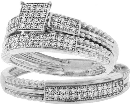 Sterling Silver Micro Pave Diamond Trio Ring Set With 0.25CT Diamonds In Rows-Square Centerpiece