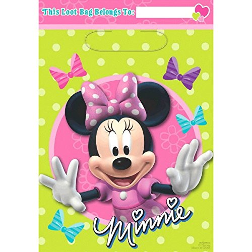 "Disney Minnie Mouse Birthday Party Toys and Prize Giveaway Folded Favour Loot Bags (8 Pack), Lime Green/Pink, 9"" x 6 1/2""."