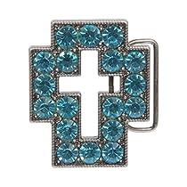 Rhinestone Cross Belt Buckle Color: Aquamarine