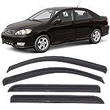 Window Visors Fits 2003-2008 Toyota Corolla | Dark Smoke Car Rain Sun Window Shade Guard Wind Deflector Smoke by IKON MOTORSPORTS| 2004 2005 2006 2007