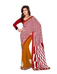 Dealtz Fashion Dual Shaded Embroidered Georgette Saree