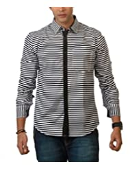 Nick&Jess Mens Classic Striped Casual Shirt With Contrast-Slim Fit