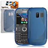 Tigerbox S-Line Hydro Gel Skin Case Cover For Nokia Asha 302 With Screen Protector - Blue