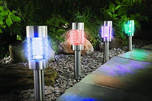 4 er Sparset Solarleuchte Farbwechsel oder weiß Edelstahl Echtglas mit integriertem Solarmodul und Dämmerungssensor - auch als Pfadbeleuchtung oder Wegeleuchte verwendbar - hochwertige rostfreie LED Solarleuchten mit 2 LEDs, Betrieb wahlweise in weiß oder